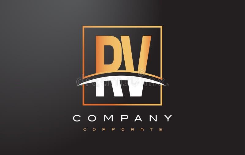 RV R V Golden Letter Logo Design with Gold Square and Swoosh. stock illustration