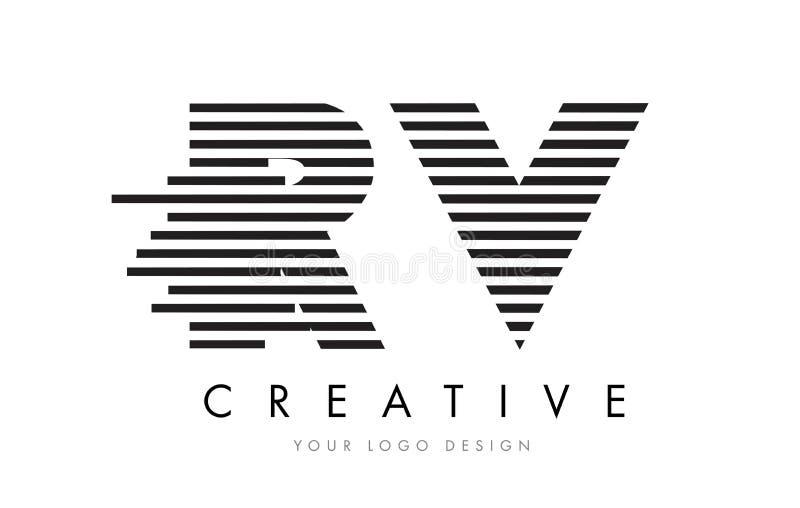 RV R V Zebra Letter Logo Design with Black and White Stripes vector illustration