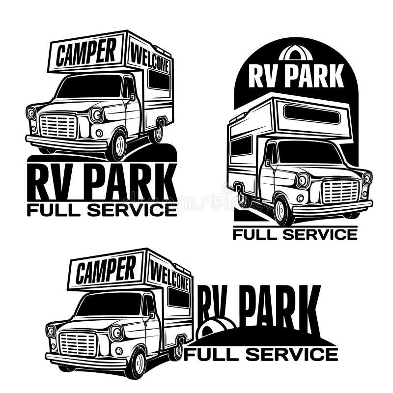 Rv samochodów Rekreacyjnych pojazdów obozowicza samochodów dostawczych karawany ilustracji