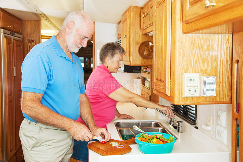 RV Seniors in Kitchen stock photos