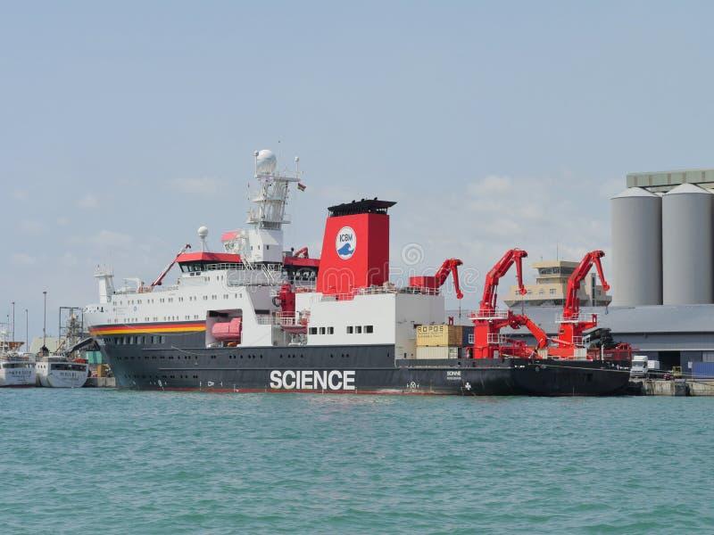RV Sonne Wilhelmshaven WISSENSCHAFT Deutsches Hochseeforschungsschiff im Hafen von Port-Louis, Mauritius lizenzfreies stockbild