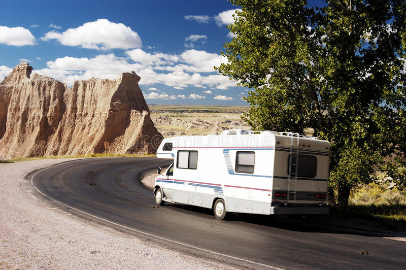 RV Travel 1. Vacationing in a recreational vehicle in the Badlands National Park