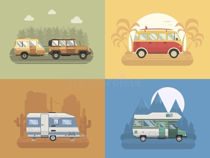 RV Travel Concept Landscapes in Flat Design stock illustration
