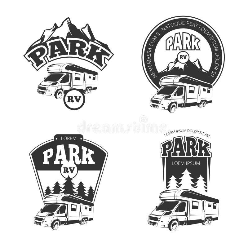 RV und Camper vector Embleme, Aufkleber, Ausweise, die eingestellten Logos stock abbildung