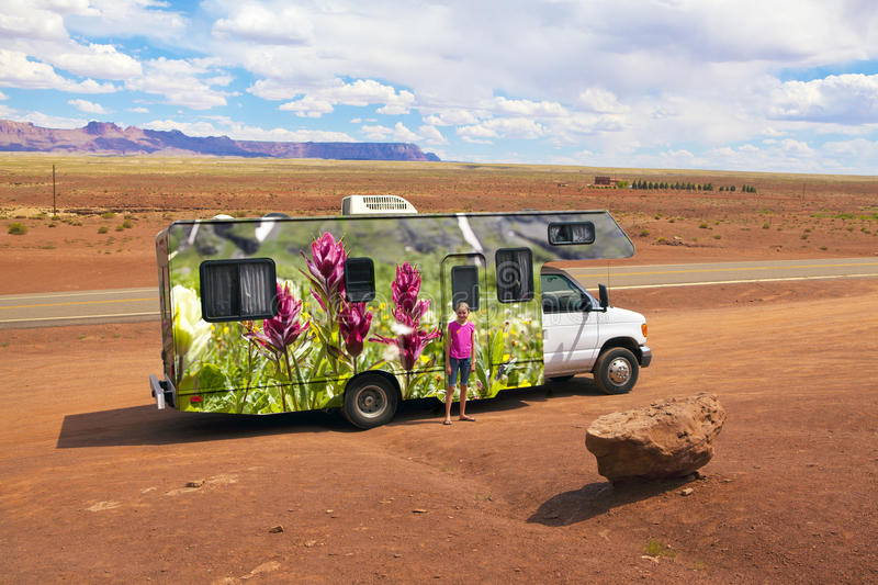 RV Vacation Travel America West royalty free stock photo