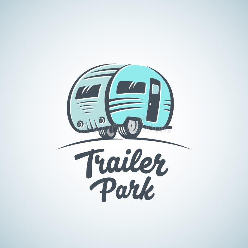 RV, Van lub pole dla przyczep kempingowych loga Wektorowy szablon, Sylwetki turystyki ikona Etykietka z Retro typografią royalty ilustracja