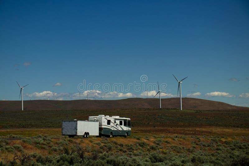 RV Windmill Landscape royalty free stock photo