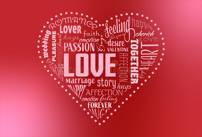 RVB de base,心形的词云彩,包含词与情人节有关 库存图片