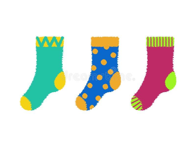 RVB de base 五颜六色的镶边和被溺爱的kidish袜子 库存图片