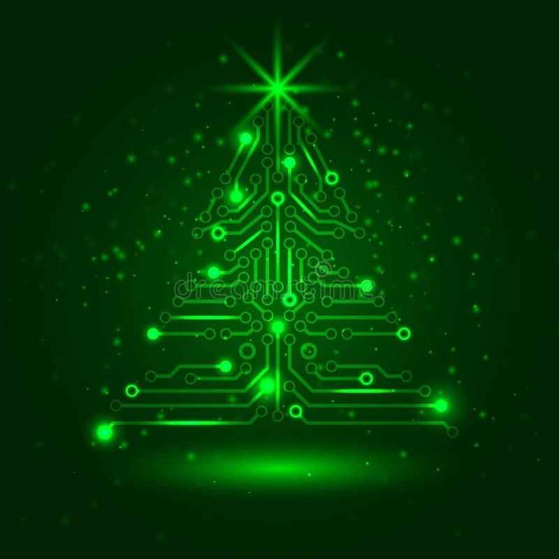 ?rvore de Natal abstrata da tecnologia. ilustração stock