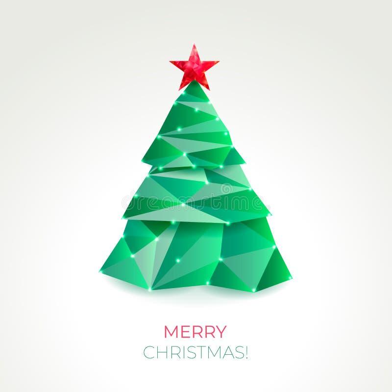 ?rvore de Natal abstrata feita de tri?ngulos verdes ilustração royalty free