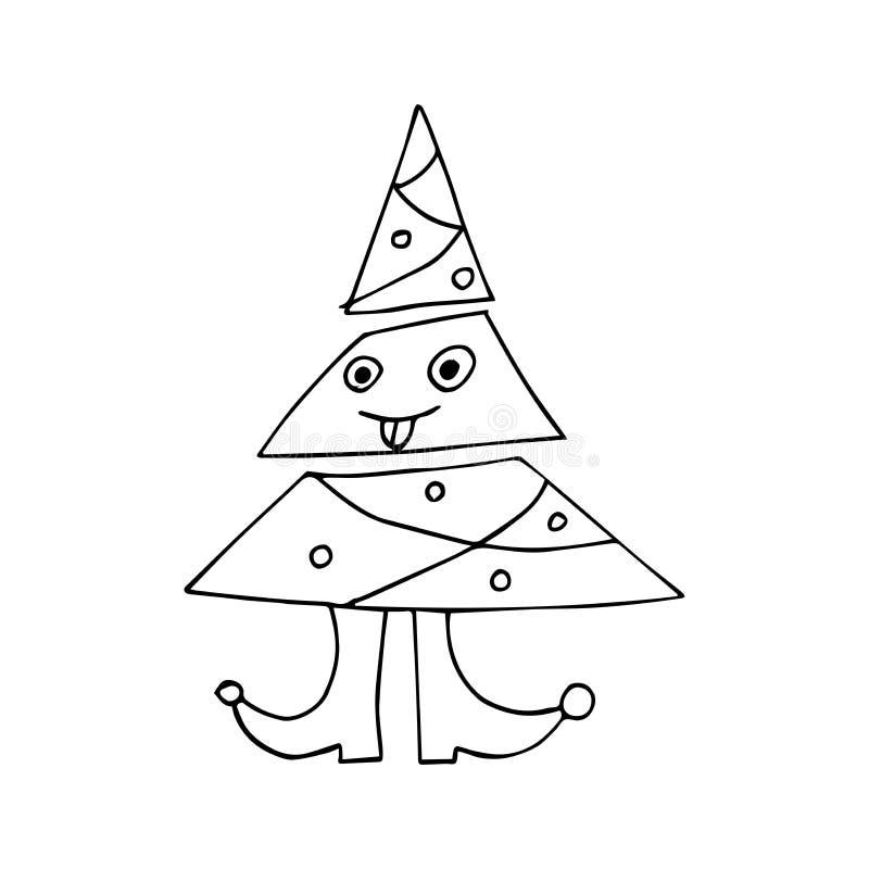 ?rvore de Natal Fundo dos desenhos animados do feriado Feliz Natal e ano novo feliz ilustração royalty free