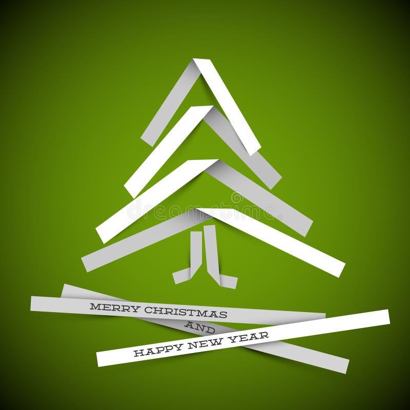 ?rvore de Natal simples do papel do vetor ilustração do vetor