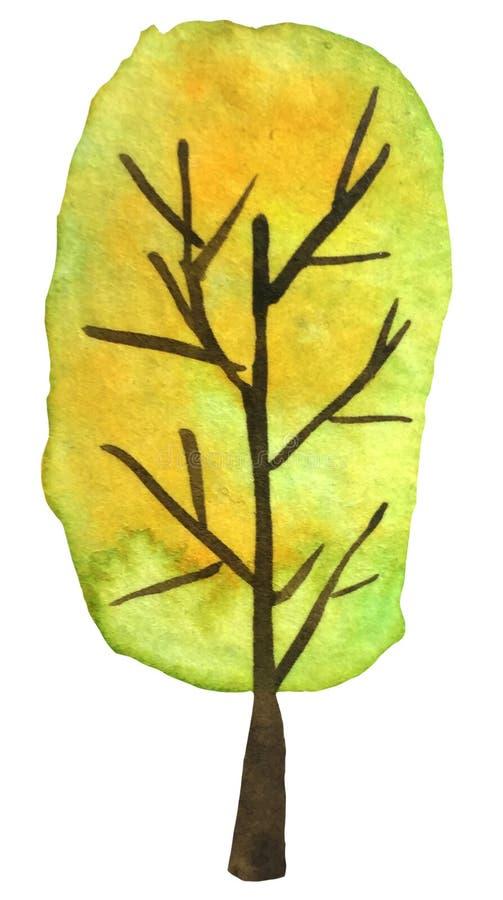 A ?rvore do outono com amarelo sae em um fundo branco ilustração da aquarela para cópias, cartão, cartazes ilustração royalty free