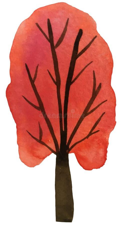 ?rvore do outono em um fundo branco ilustração da aquarela para cópias, cartão, cartazes ilustração royalty free