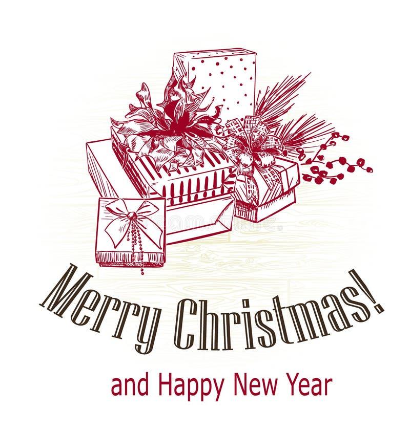 A ?rvore victorian do estilo do cart?o de Natal apresenta a gravura do esbo?o tirada foto de stock royalty free