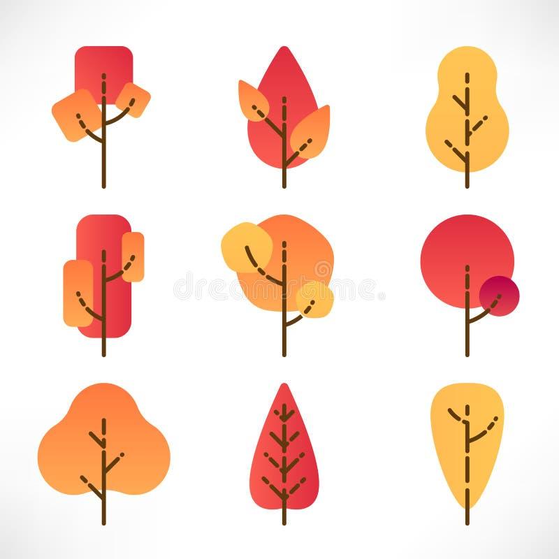 ?rvores do outono ajustadas ilustração do vetor