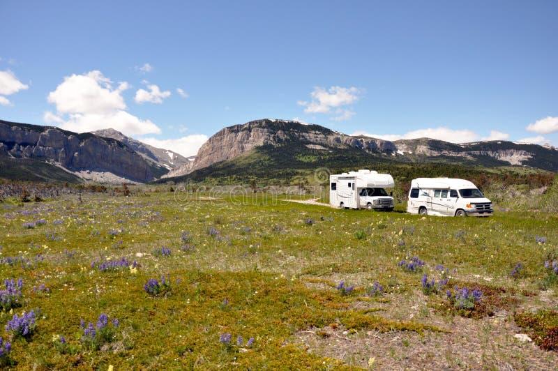 RVs Cross Arid Wilderness Royalty Free Stock Image
