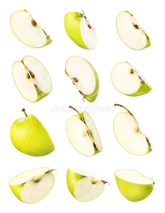 RW Corte manzana verde sobre fondo blanco fotos de archivo