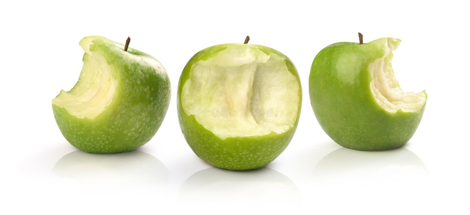 Three green apples. Green  apples on a white background royalty free stock image