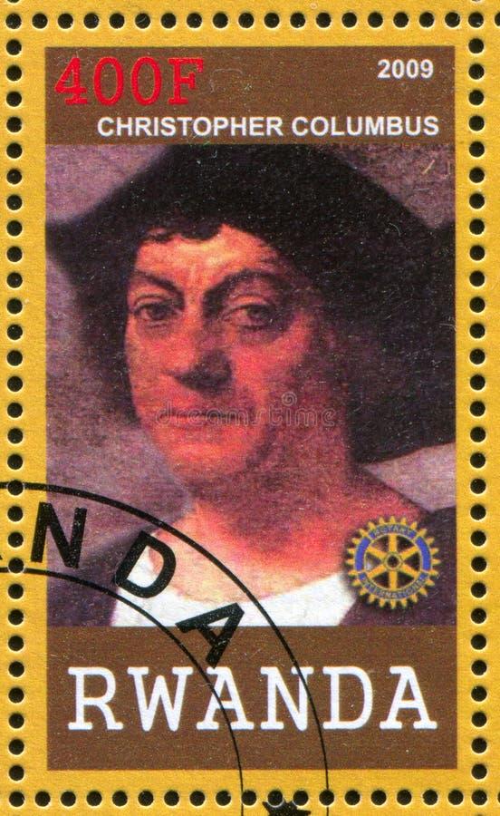 Christopher Colombus printed by Russia. RWANDA - CIRCA 2009: stamp printed by Rwanda, shows Christopher Colombus, circa 2009 stock photo