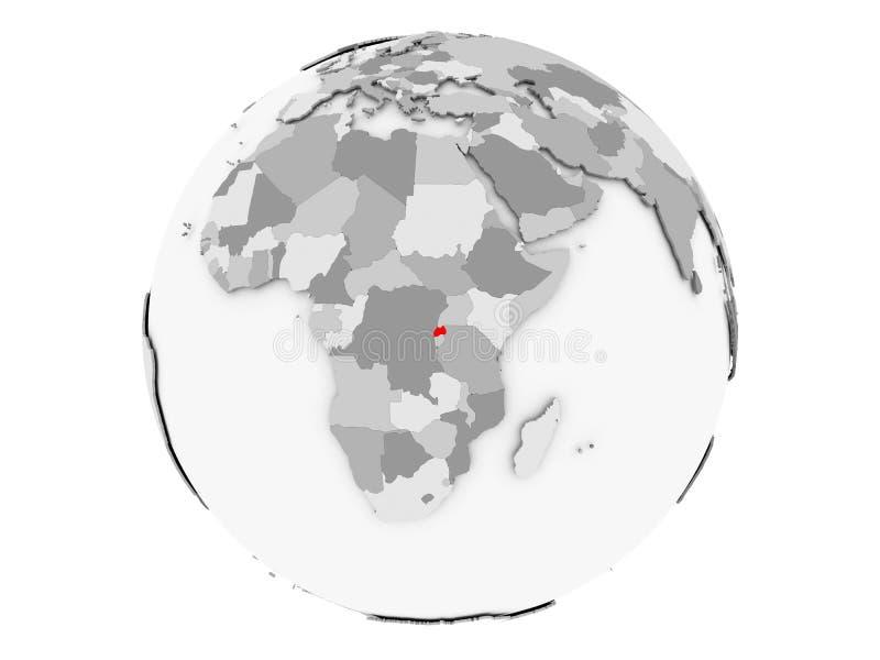 Rwanda en el globo gris aislado libre illustration