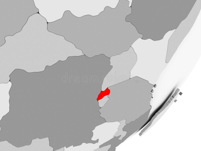Rwanda en rojo en mapa gris libre illustration