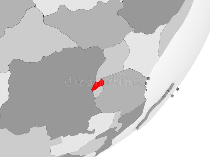Rwanda en rojo en mapa gris stock de ilustración