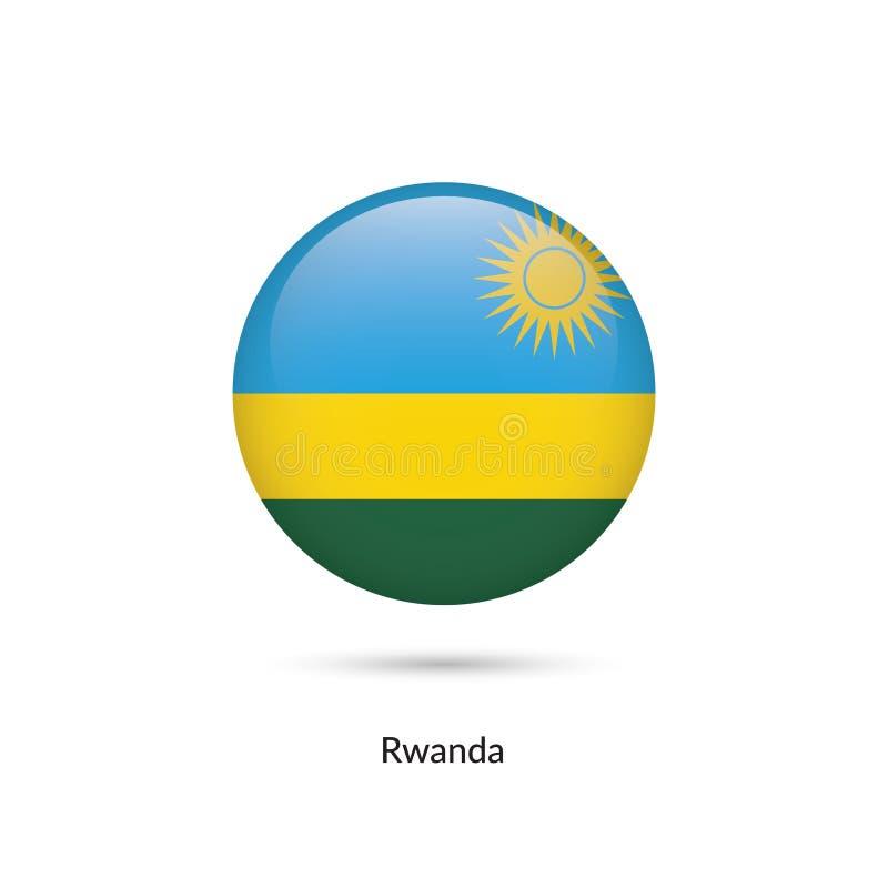 Rwanda flagga - rund glansig knapp vektor illustrationer