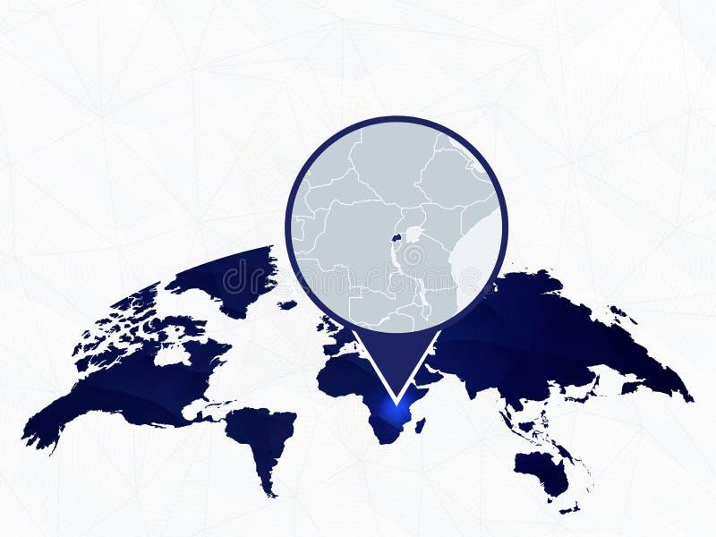 Rwanda gedetailleerde kaart die op blauwe rond gemaakte Wereldkaart wordt benadrukt royalty-vrije illustratie