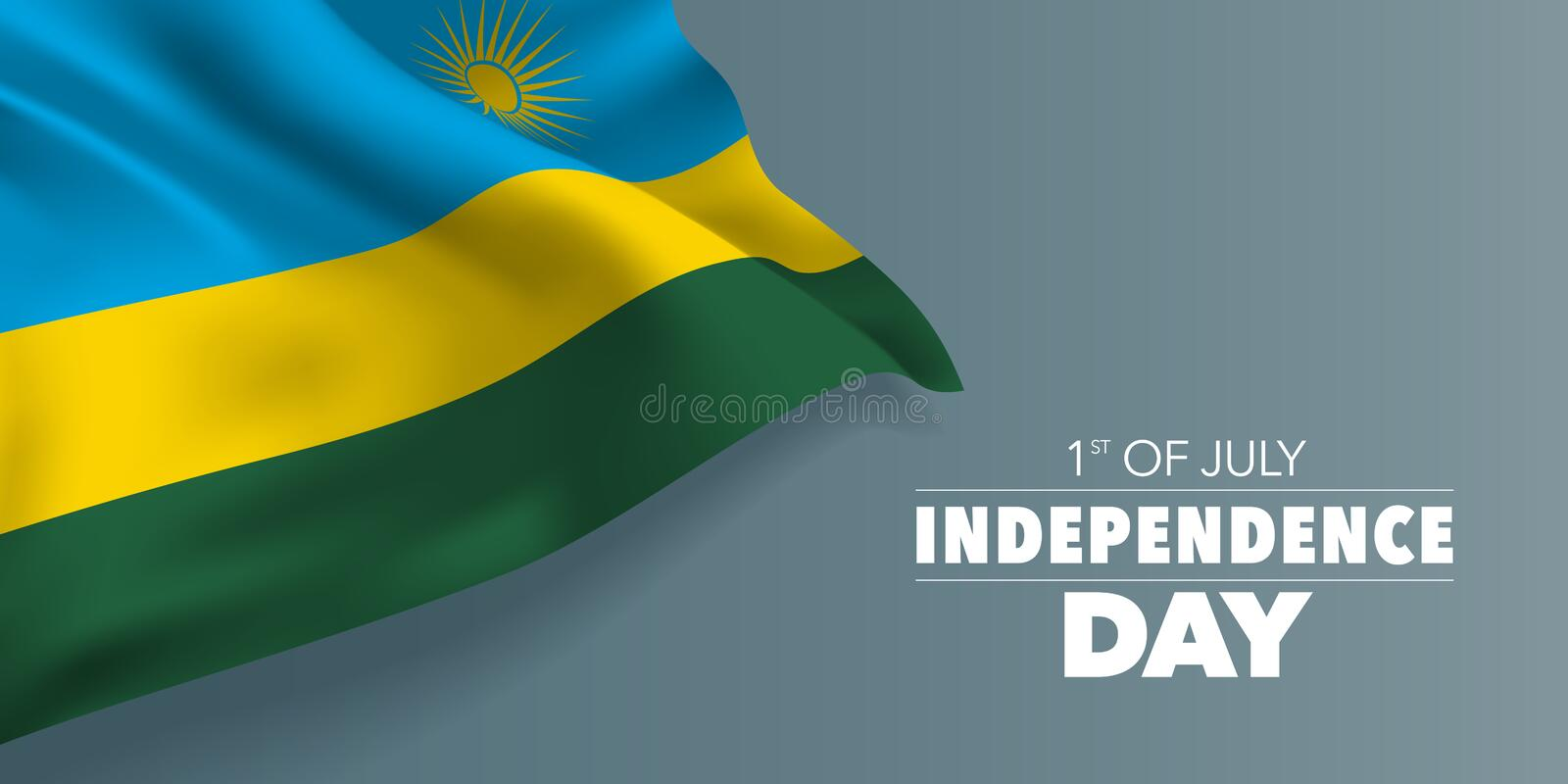 Rwanda happy independence day greeting card, banner with template text vector illustration. Rwandan memorial holiday 1st of July design element with flag with stock illustration