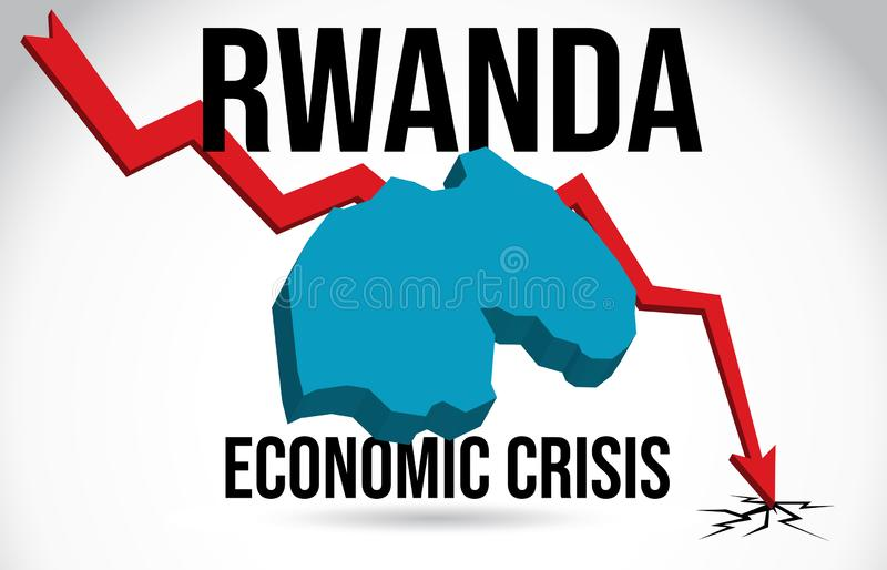 Rwanda Map Financial Crisis Economic Collapse Market Crash Global Meltdown Vector. Illustration stock illustration