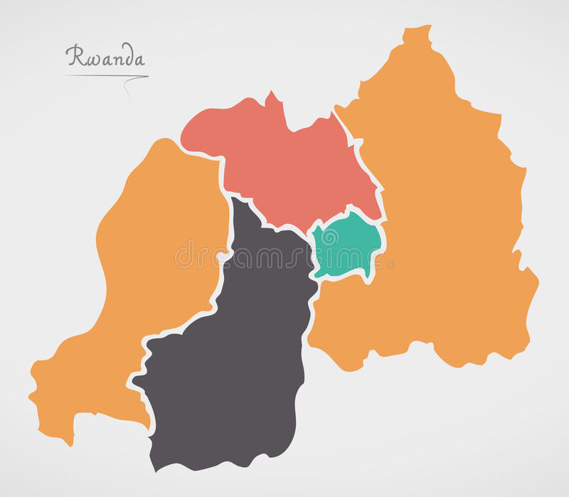 Rwanda Map with states and modern round shapes. Illustration vector illustration