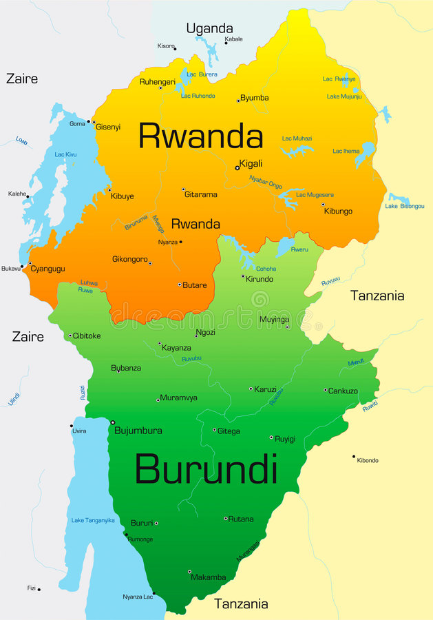 Rwanda och Burundi vektor illustrationer
