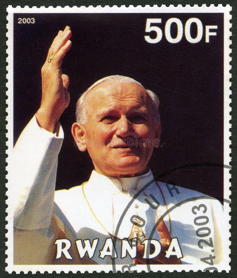 RWANDA - 2003: showpåve John Paul II - 25th årsdag av pontifikatet royaltyfri fotografi