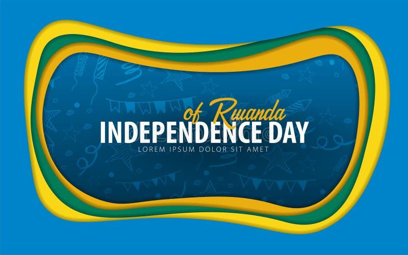 rwanda Självständighetsdagenhälsningkort papperssnittstil stock illustrationer