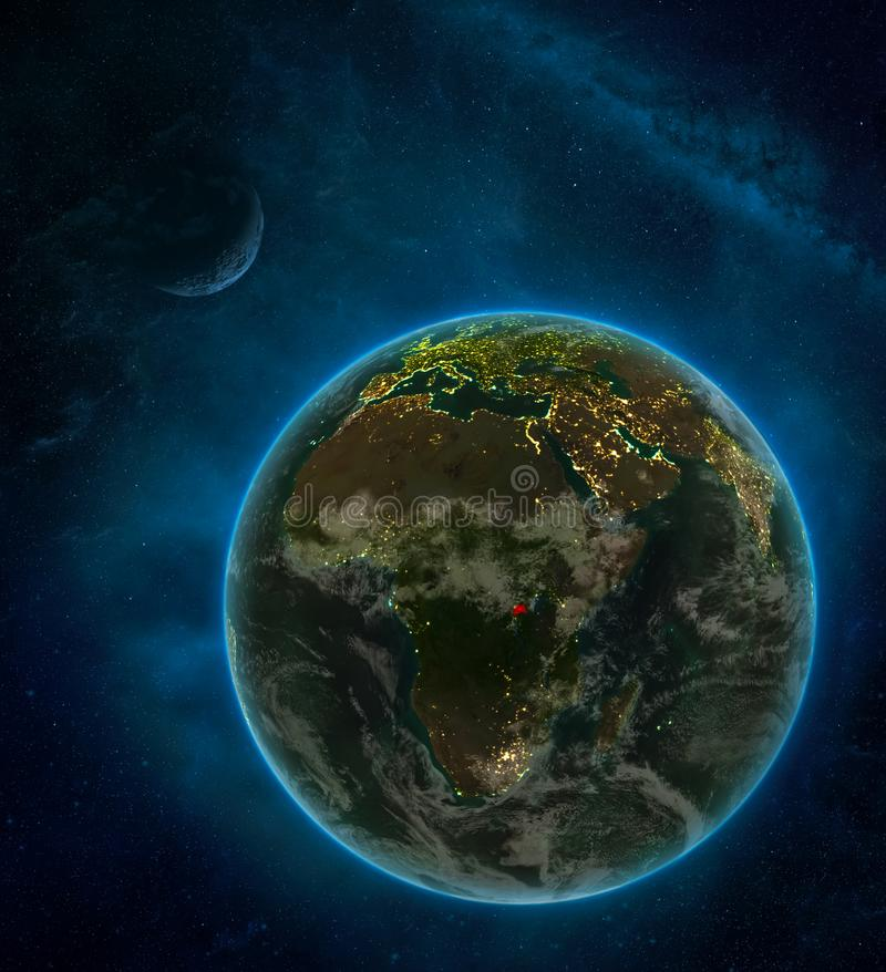 Rwanda from space on Earth at night surrounded by space with Moon and Milky Way. Detailed planet with city lights and clouds. 3D. Illustration. Elements of this vector illustration