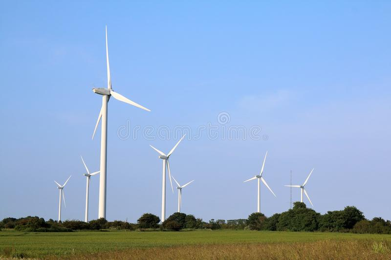 Essex wind farm on the marshes. RWE npower renewables commissioned VolkerFitzpatrick to construct a ten turbine wind farm at Bradwell-on-Sea in Essex. Each royalty free stock photos