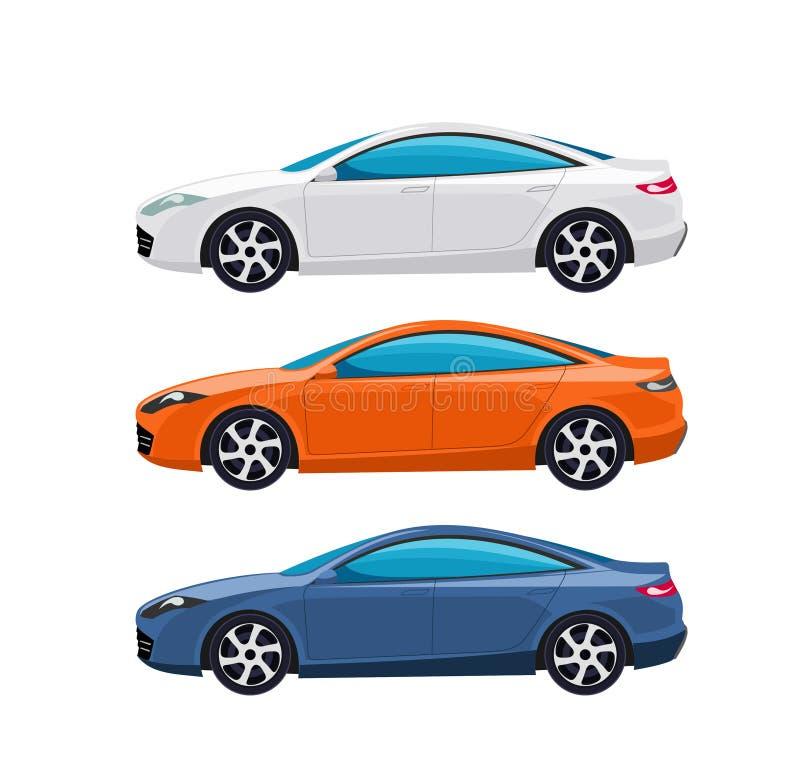 Rwhite, laranja e azul modelo de carros do perfil Esportes modernos super dos carros ilustração do vetor