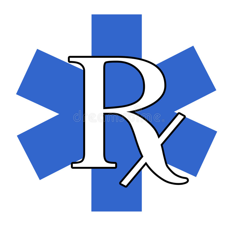 RX azul e branco ilustração stock
