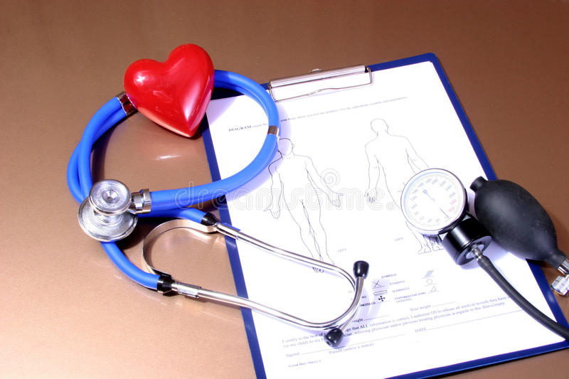 RX blank, Stethoscope and heart on white background royalty free stock photo