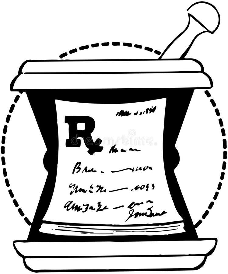 RX-block på mortel stock illustrationer