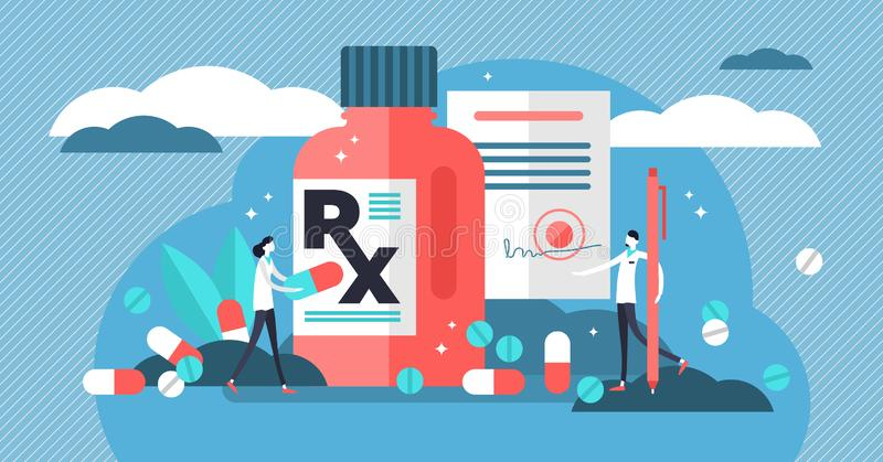 RX medical prescription drug vector illustration. Flat mini persons concept. With patient, pills, capsules, drugs and doctor. Disease therapy medicament sold by stock illustration