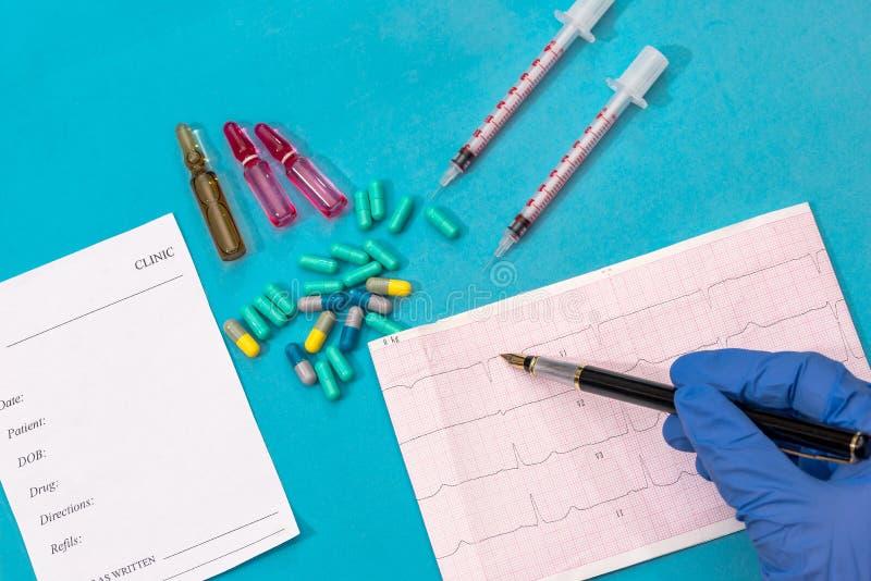 Rx mellanrum, kardiogrampreventivpillerar och injektionsspruta arkivfoton
