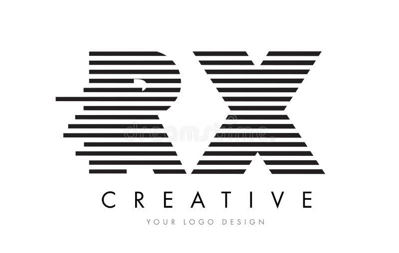 RX R X Zebra Letter Logo Design with Black and White Stripes stock illustration