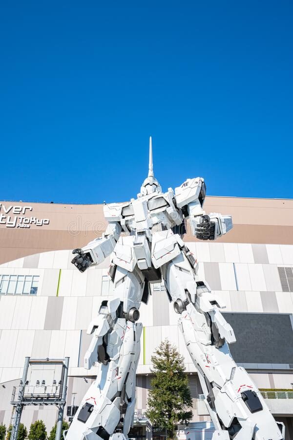RX-0 Unicorn Gundam in front of Diver City Tokyo Plaza in Odaiba, Tokyo royalty free stock photo