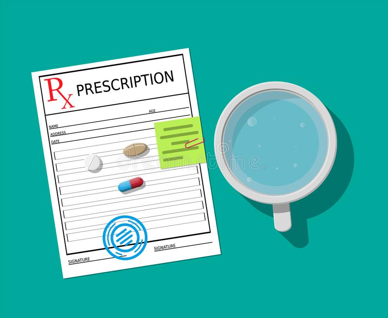 Rx, vidrio de agua y de píldoras Tomar la medicación ilustración del vector