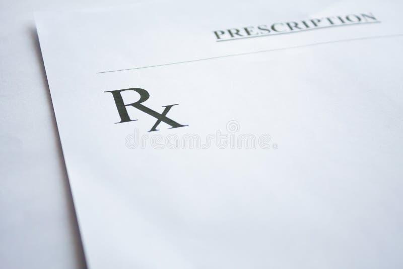 RX voorschriftvorm op wit stock afbeeldingen