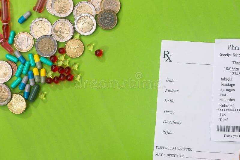 rxmellanrum med preventivpillerar och myntet arkivbild