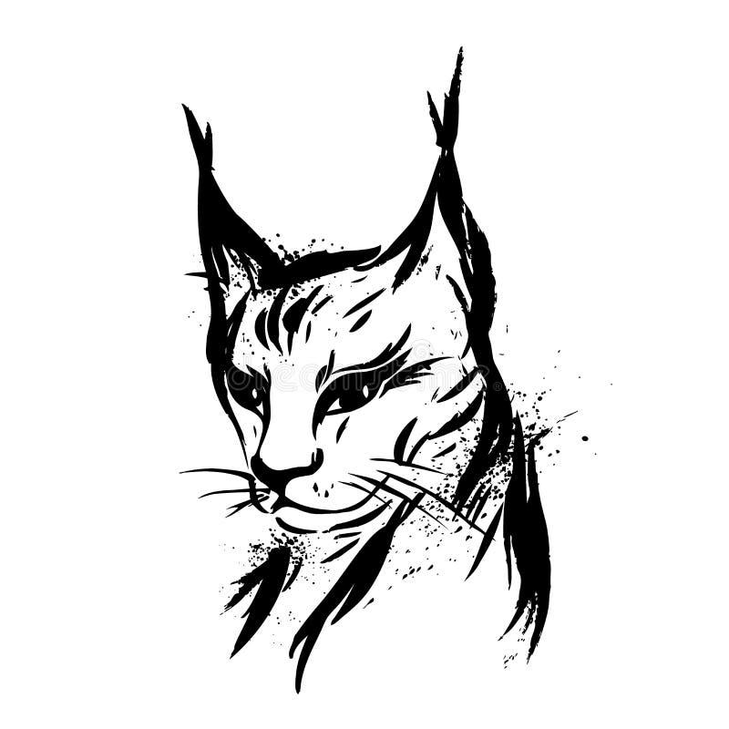 Ryś lub Dziki kot predator royalty ilustracja